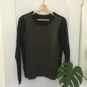 J. Crew navy & green wool sweater with zippers